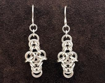 Byzantine Cross Chainmail Earrings