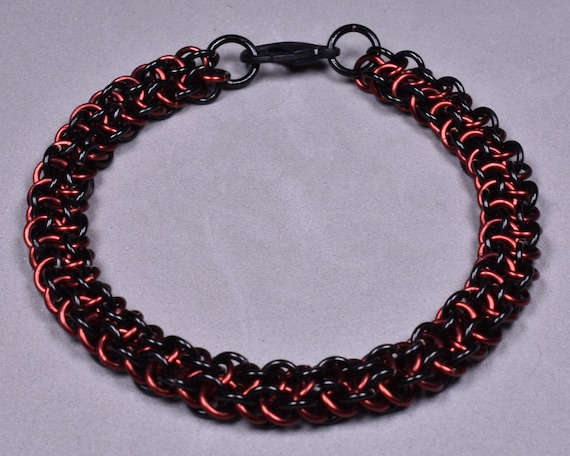 Copper Chainmail Bracelet - Black and Burgundy