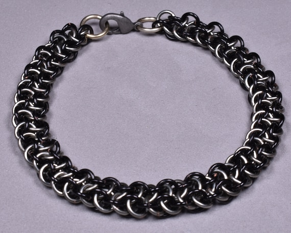 Copper Chainmail Bracelet - Black and Titanium