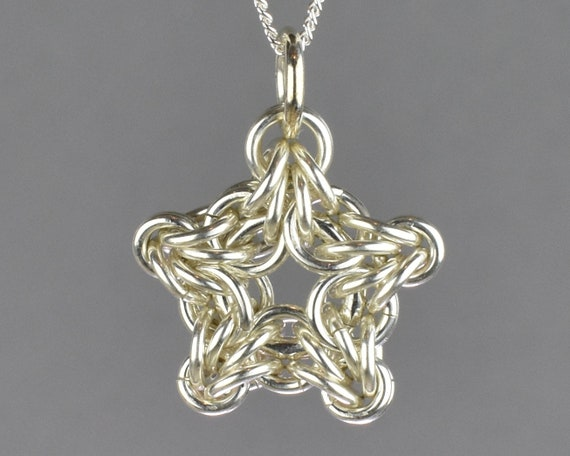 Byzantine Star Chainmail Pendant - Sterling Clearance