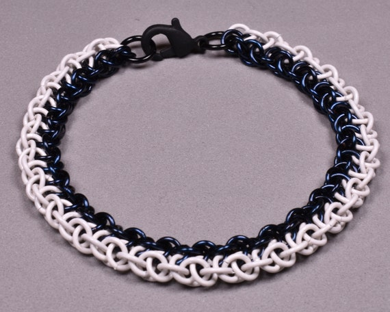 Copper Chainmail Bracelet - Navy Blue and White