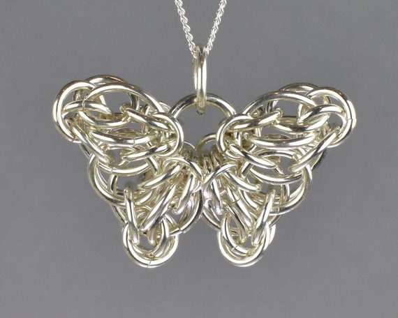 Celtic Butterfly Chainmail Pendant - Large