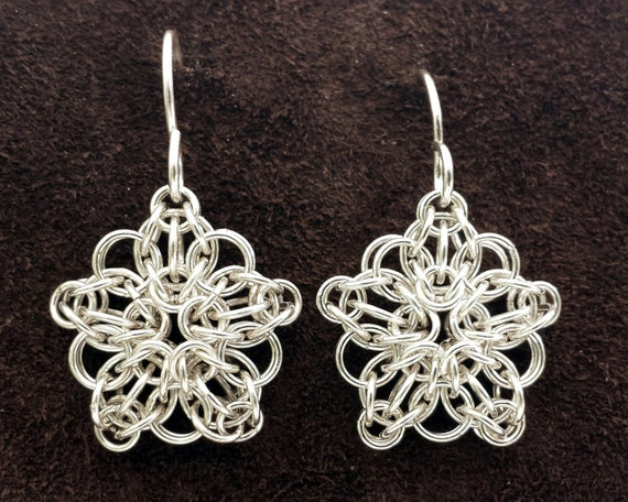 SALE  Celtic Star Chainmail Earrings