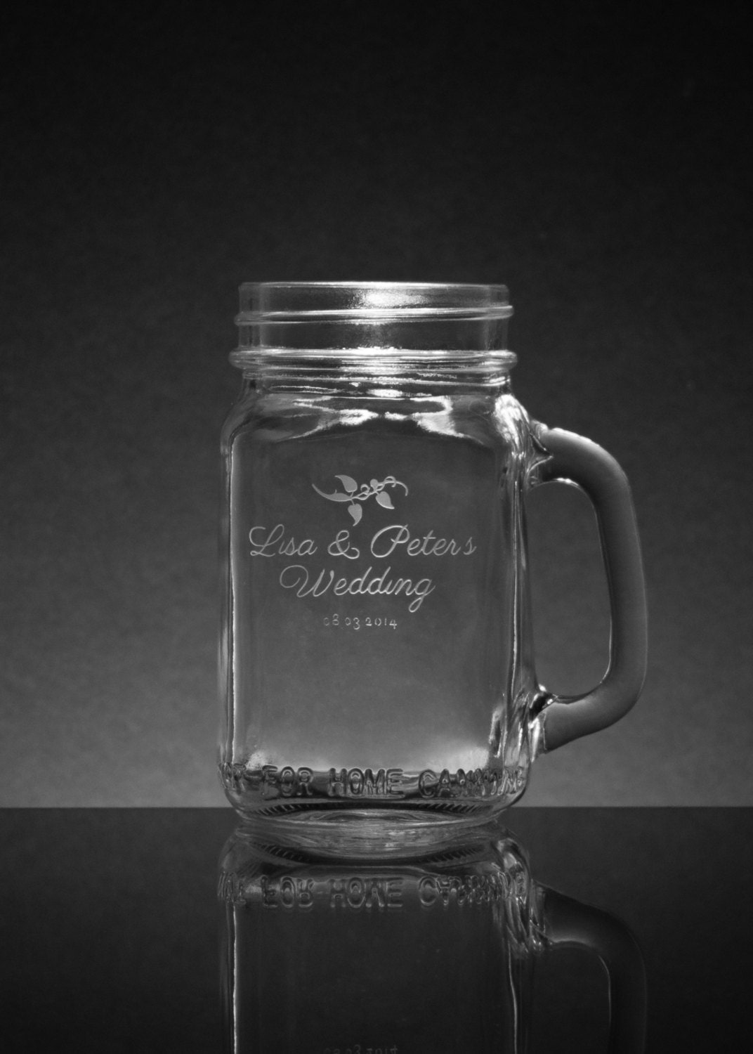 personalized engraved mason jar pint custom mason jar wedding