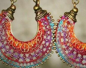 Boho Jewelry Orange Jewelry Hippie Jewelry Bohemian Jewelry Boho Jewelry Tribal Jewelry Hippie Jewelry Orange Earrings Hoop Earrings Boho Ea