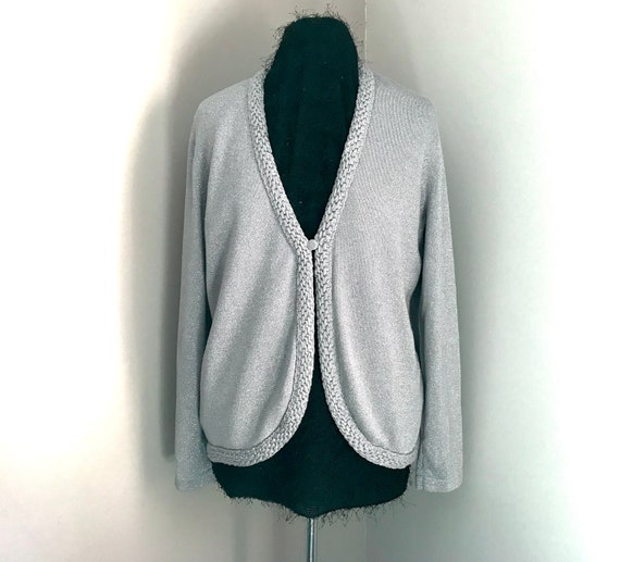 Cardigan, women sweater, silver gray, knitted vest