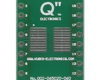 """SOP20,MSOP20,TSOP20 0.65mm(0.026"""") to DIP20 0.6"""" socket."""
