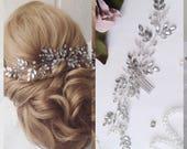 Bridal hair accessories  Bridal hair comb Rose gold bridal Hair piece Bridal hair vine  Gold Wedding headpiece Pearl hair comb  Hair pins