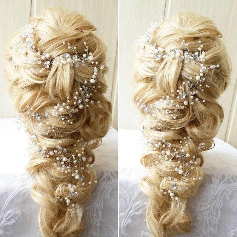 Crystal and Pearl hair vine Babys breath hair piece Wedding 25.59 inches(65) cm