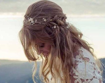 "Rose gold flower hair vine 14 color Wedding hair accessories Size 6""- 67"" Bridal hair vine Wedding hair piece Flower headpiece Crown Gift"