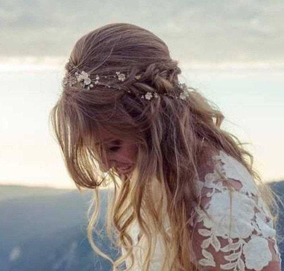 Wedding Hair Comb 260 | Rose Gold Flower Hair Vine 17 Color Wedding Hair Accessories Etsy