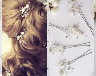 White Flower hair pins 14 color flower Wedding hair accessories Wedding hair pin Floral pins Bridal hair pins Bridal hair piece Rhinestone