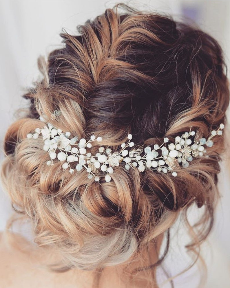 Opal hair vine Bridal hair pieces Babys breath hair Gold hair image 0