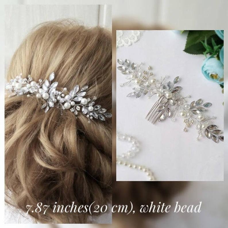 Bridal pearl hair comb Bridal hair comb Wedding hair piece image 0