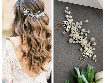 Silver Wedding head piece for bride Gold Bridal hair vine Flower Wedding hair pieces Crystal headpiece Wedding hair accessories Crystal halo