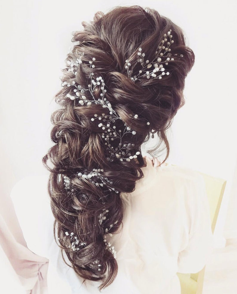 crystal and pearl hair vine for bride babys breath hair piece image 0