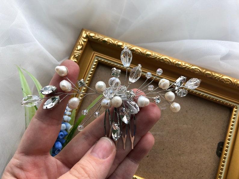 Fresh water pearl Crystal bridal hair piece Bridal hair accessories Bridal hair vine Bridal hair comb Wedding headpiece Wedding hair piece
