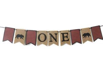Lumberjack first birthday , Birthday banner , Lumberjack theme