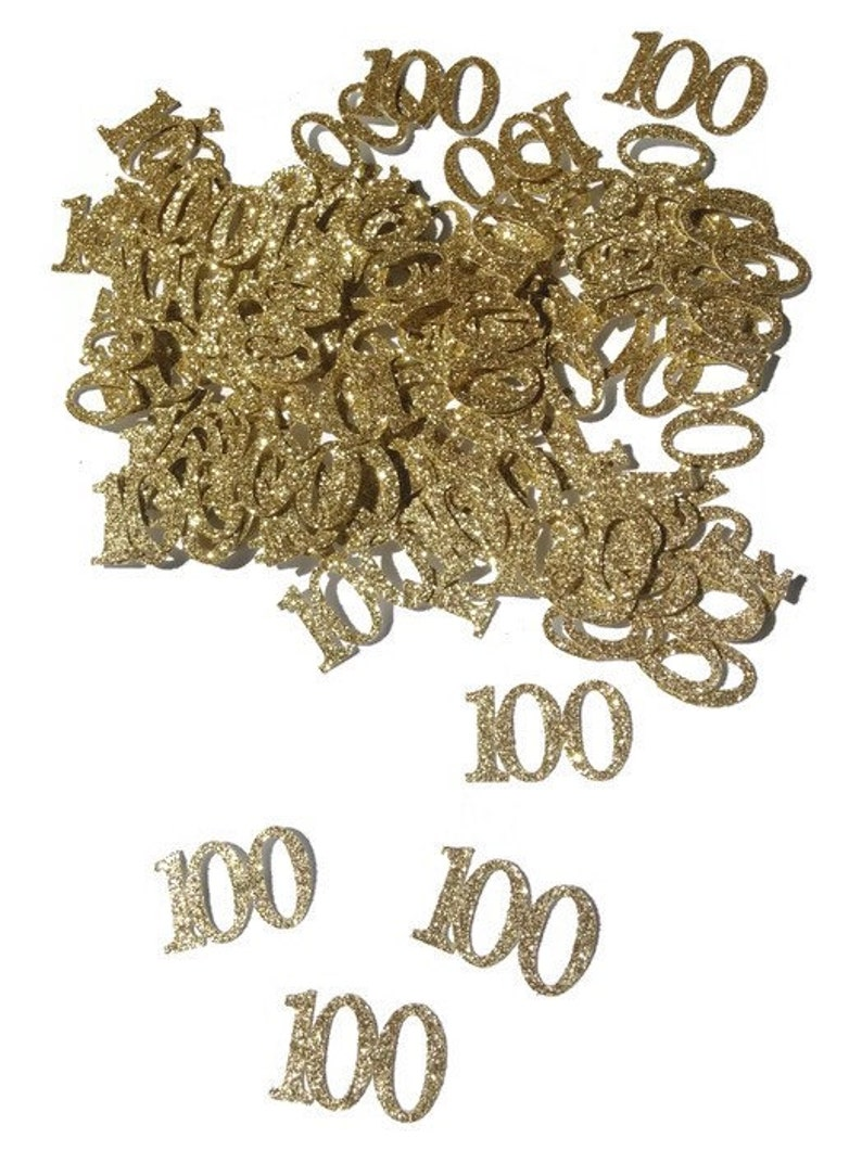 100th Birthday Confetti Decorations Table