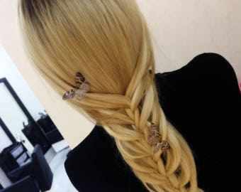 3 Butterfly hairpins, papillon, Wedding Hairstyle, Bride hairstyle, Amazing haircut, Mariposa, Unique hairstyle, Coffee color Butterfly,