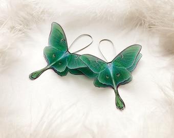 Long Silk Earrings with Emerald Green Luna Moth Wings, Butterfly Earrings with Organza Wings, Notable Earrings of Silk Butterfly Wings