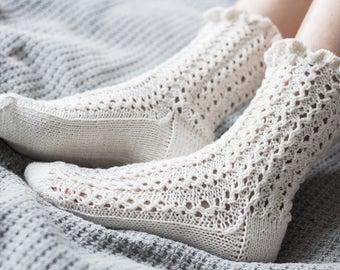 Light Hand Knitted Lace Linen Socks lmz5NwHei