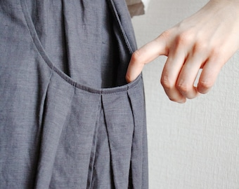 Loose Linen Skirt with Elastic Band and Pockets