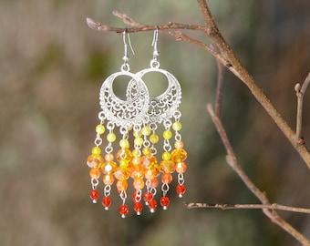 Orange chandelier earrings, Boho earrings, Beach earrings, Summer vibe earrings