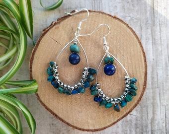 Ethnic Earrings Afghan Earrings Tribal Kuchi Earrings Silver Plated Zamak Earrings Boho Chandelier Earrings Lapis Lazuli Earrings