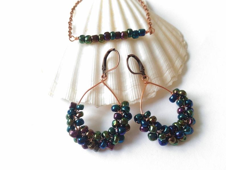 Iris hoop earrings and bar bracelet,Wire wrapped jewelry set,Iridescent dangle earrings Rainbow aura earrings Oil slick seed bead bracelet