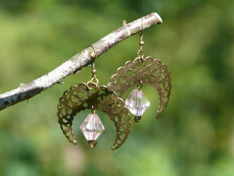 Soft pink beaded earrings Pink boho earrings Crescent moon bronze earrings Antique brass earrings Gypsy chandelier earrings