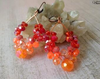 Red orange chandelier earrings, Red boho earrings, Red orange hoop earrings