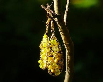 Yellow drop earrings, Long yellow earrings, Beaded earrings, Brass earrings, Golden earrings, Summer earrings, Bright earrings