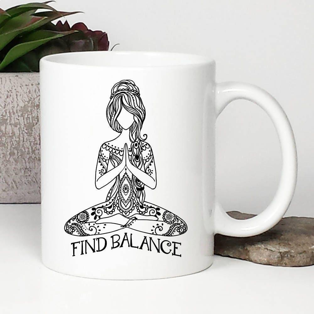 Yoga Coffee Mug Yoga Mug Find Balance Namaste Buddha   Etsy