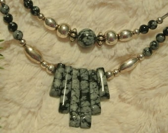 Silver and Blue Beaded Necklace, Nice!