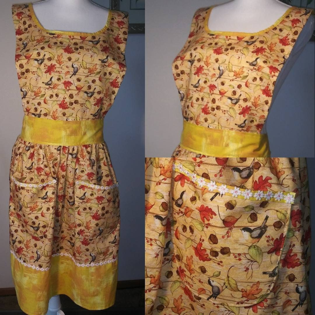 Fall Birds an Lace bib apron