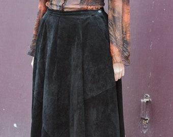 Pencil Skirt Misses Size 10 London Fog New York Genuine Leather Skirt Vintage Black Leather Skirt  High Waisted Skirt