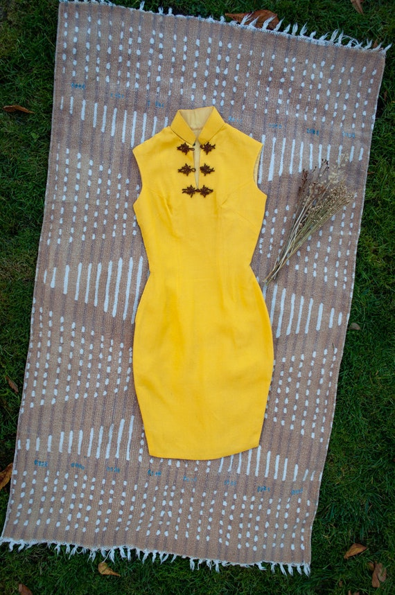Bright Yellow Button Knot Cheongsam Dress, Vintage