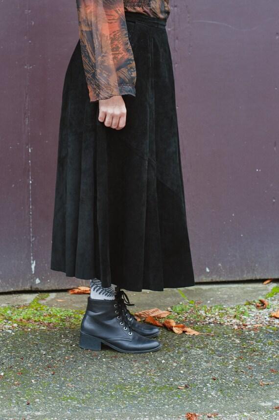 Danier Full Length Black Suede Leather Full Skirt… - image 2
