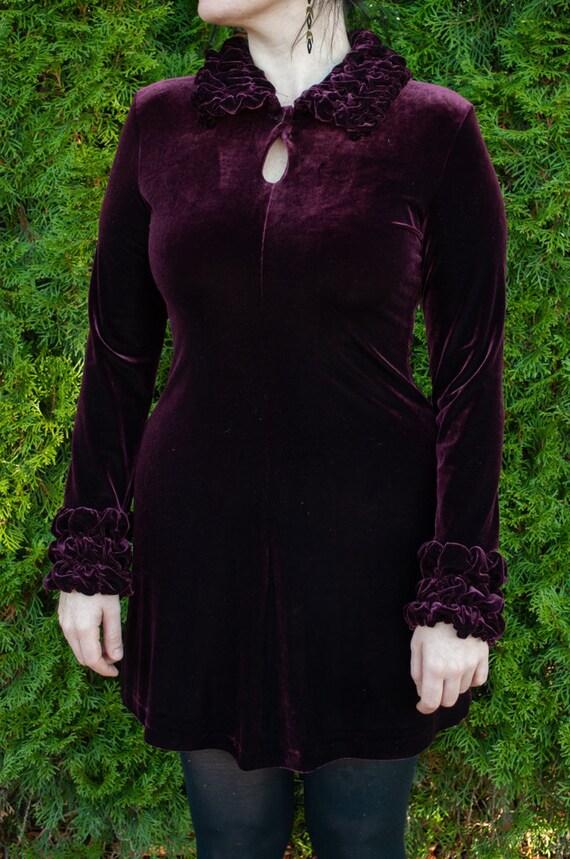 90s Dress, Velvet Dress, Burgundy Dress, Baby Doll