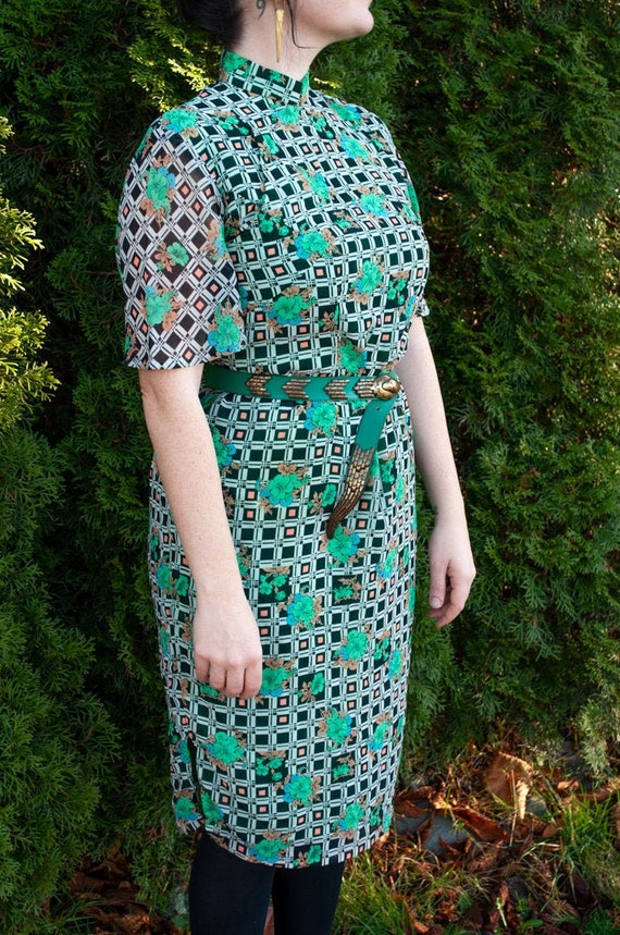 Vintage 70s Floral and Abstract Cheongsam Dress, V