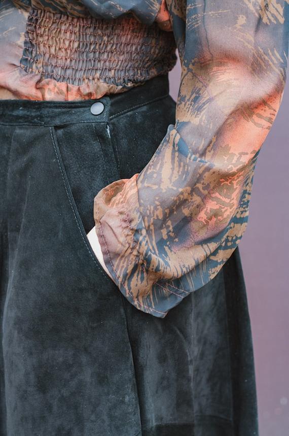 Danier Full Length Black Suede Leather Full Skirt… - image 4