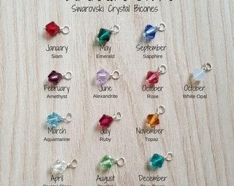 Add A Birthstone, Crystal Bicone Birthstone, Birthstone Charm, Birthstone Pendant, Add Birthstone To Bracelet, Add Birthstone To Necklace
