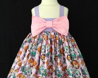 c98e42f9d Paw Patrol Dress / Bow Dress / Girl Paw Patrol Birthday Outfit / Birthday  Party Dress / Boutique Dress / Everest and Skye / Girls dress