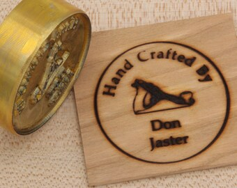 """2"""" Round """"Hand Crafted By"""" with Hand Plane Custom Text Branding Iron"""