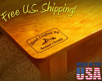 """Branding Iron - 2"""" x 1"""" Custom Text """"Hand Crafted By"""" with Hand Plane for Wood or Leather"""