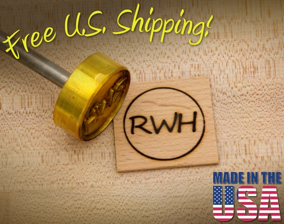 """Branding Iron - 1.5"""" Round Custom Initials with Ring for Wood"""