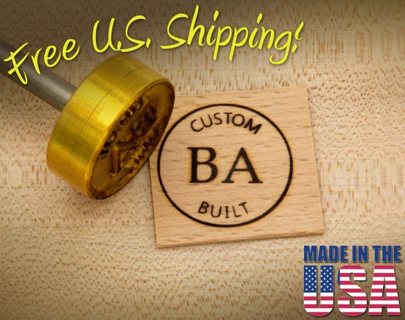 """Branding Iron - 1.5"""" Round Custom Text w/Initials & Outline for Wood"""