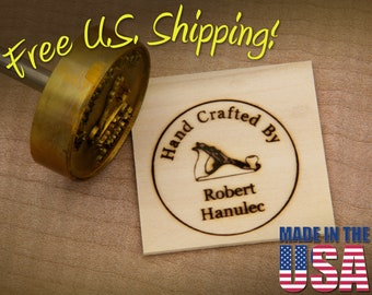 """Branding Iron - 2"""" Round Custom Text """"Hand Crafted By"""" with Hand Plane for Wood or Leather"""