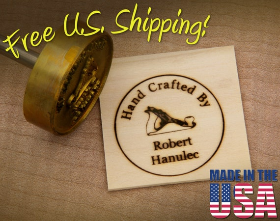 """Branding Iron - 2"""" Round Custom Text """"Hand Crafted By"""" with Hand Plane for Wood"""